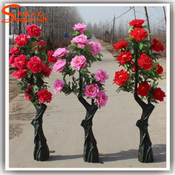 large mall artificial flower tree landing placed pink flower trees