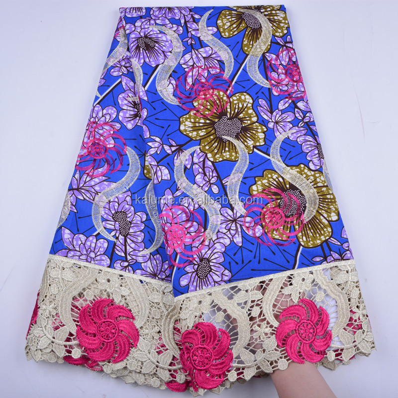 Hot Selling African Colorful Wax Printed Fabric Wax Style African Printed Chemical Lace Embroidered Super Wax Lace 1295