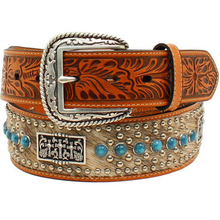 Genuine leather calf hair 3 crosses concho western floral emboss turquoise stone studded belts
