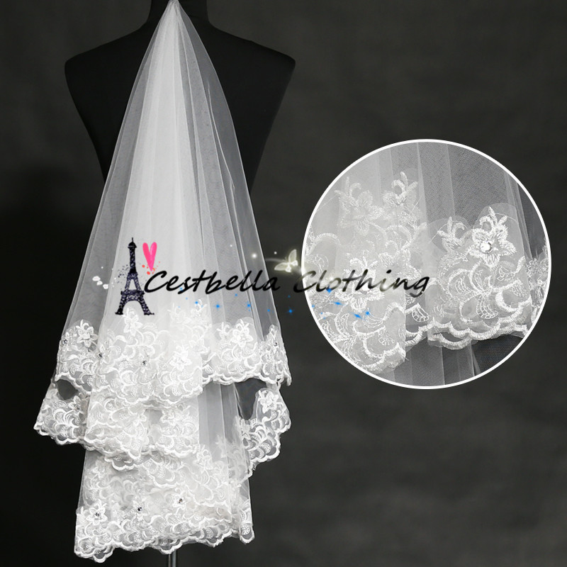 Brides Wedding Veil Lace Trim Short Ivory Wedding Veils 2016