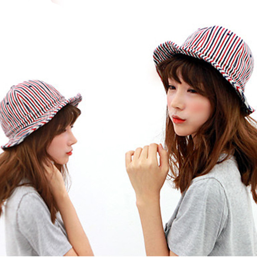 35def8cb467 2015 New Bucket Hat Caps Striped Summer Style Bob Round Brimmed Hats Dome  Casual Outdoor Sunscreen
