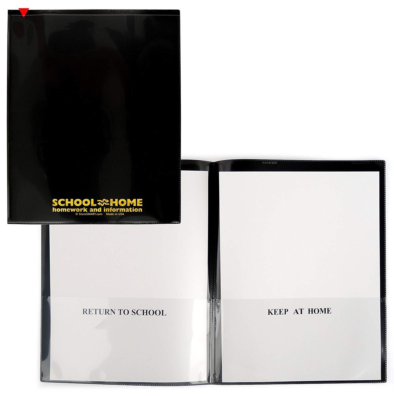 StoreSMART - School / Home Folders - Black - 30-Pack - Archival Durable Plastic - Homework and Information - SH900SV-BK30