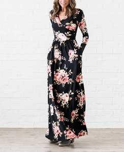 small moq clothing manufacturer cheap wholesale women dresses faux wrap maternity/nursing friendly jersey floral long maxi dress