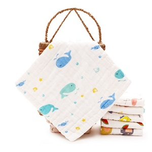 Super Soft 6 Layer Cotton Gauze Whale Pattern Baby Hand Towel