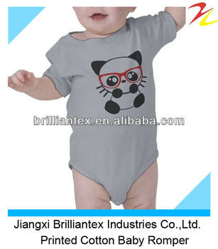 Cute Short Sleeve Plain Cotton New Born Baby Romper