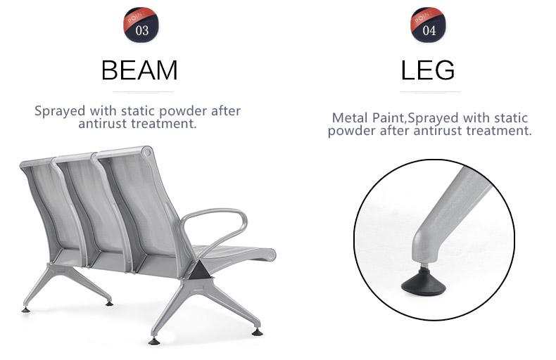 wholesale metal steel 3-seater cheap waiting room chairs waiting gang chair SJ709AL