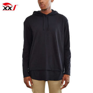 Thailand wholesale clothing double layer hooded long sleeve mens new design tshirts