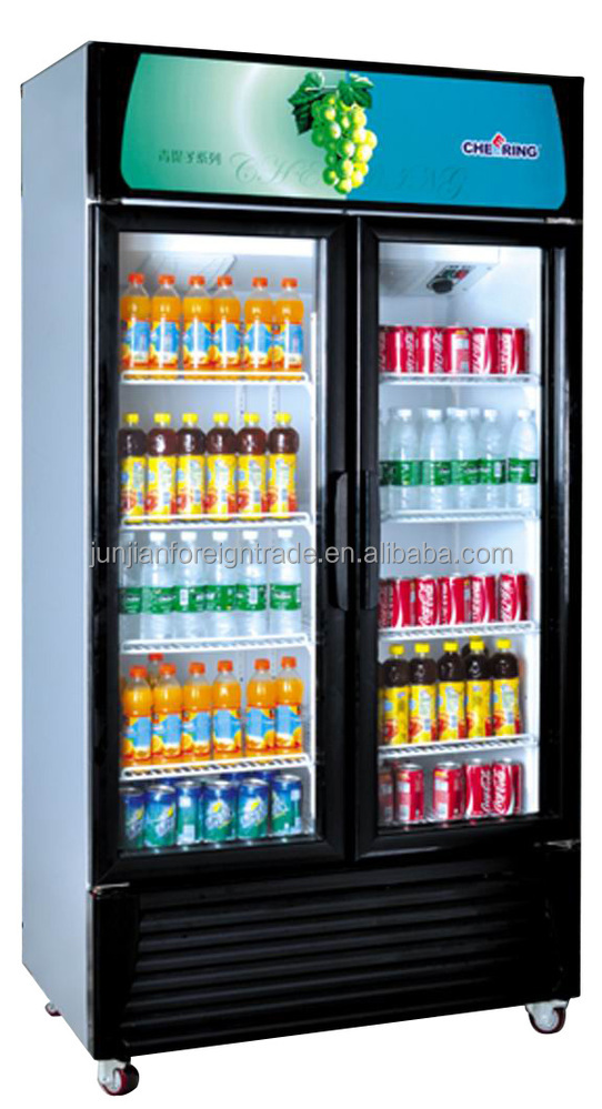 Made in china CHEERING supermarket equipment double door upright glass door refrigerated storage cabinet for drinks