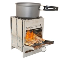 Camping Stove Outdoor Folding Wood Stove Portable Camping Hiking Backpacking Stainless Steel Burning Stove