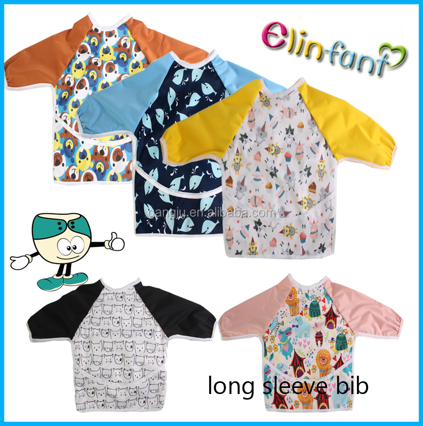 kids painting eating overall coat long sleeves baby feeding apron bibs