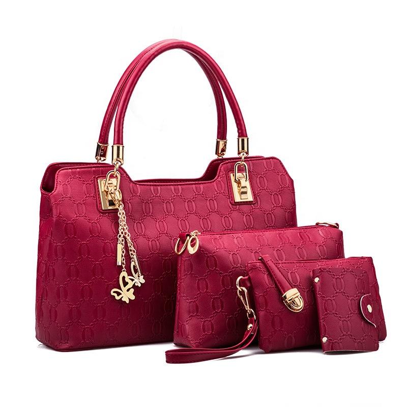 94d1aa40434b4 Yeni Modeller Pu Deri Moda Bayan El Çantaları Omuz Kadın Çanta 4 Adet  Setleri Çanta