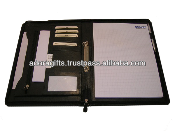 A4 Leather Folder Design Personalized Portfolio Company Imitation Ring Binder File