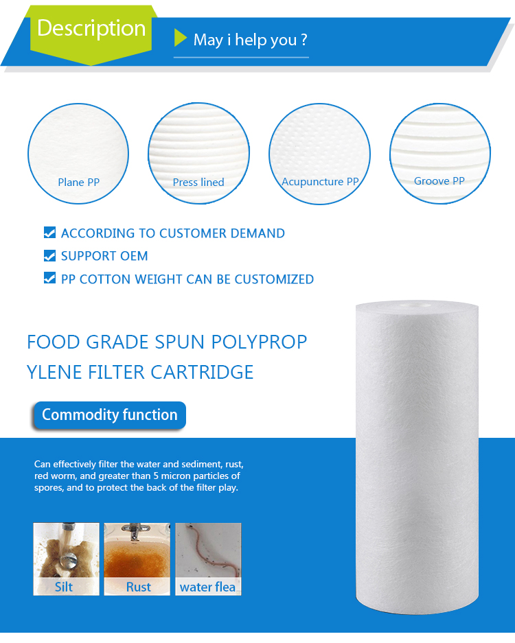 Water behandeld 1 micron 10 inch pp filter cartridge element
