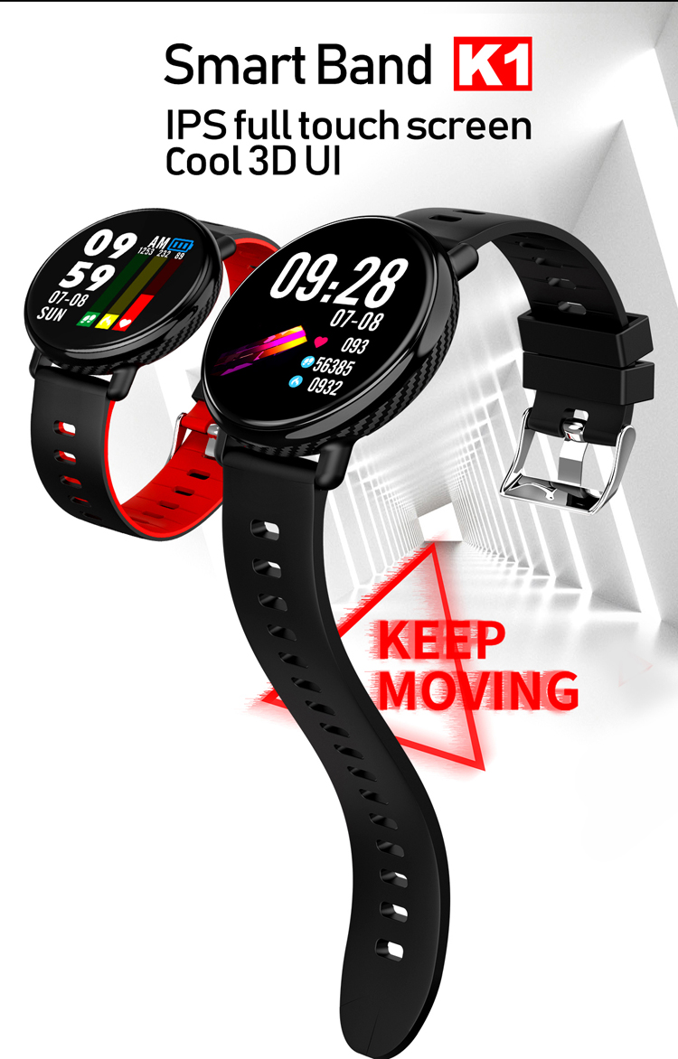 Fitness Tracker 3D UI Screen K1 Smart Horloge bloeddruk IP68 Waterdichte SMS Push HR SmartWatch Sport