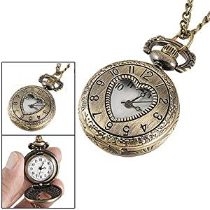 BUYEONLINE Cut Out Heart Hunter Case Necklace Pocket Watch Bronze Tone For Ladies