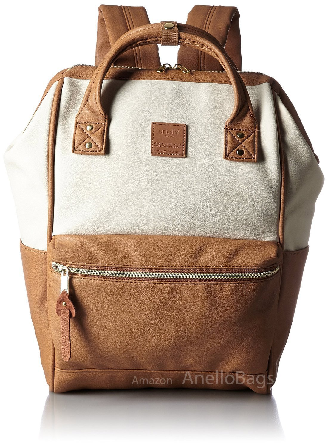6e0cf81150 Get Quotations · Japan Anello Backpack Unisex IVORY x CAMEL LARGE PU  LEATHER Rucksack Bag Campus