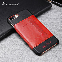 Ultra Thin Card Holder Genuine Leather Phone back cover case for iphone 7 plus
