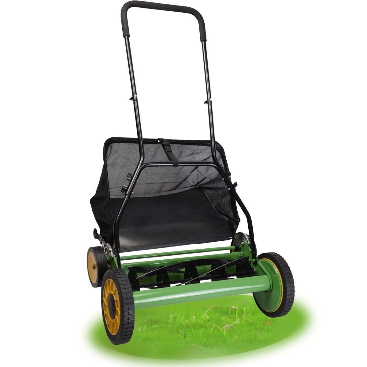 "NEW 20"" Height Adjustable Classic Hand Push Lawn Mower Reel Grass Catcher"