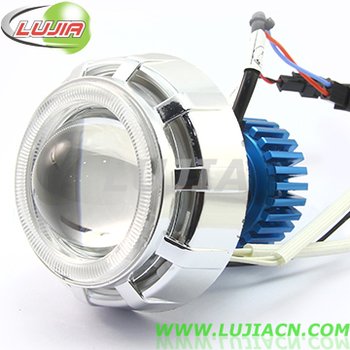 Hi/lo beam Bi-Xenon HID projector lens 8W18W 2200LM motorcycle  LED headlight with double angel eyes devil eye led work light