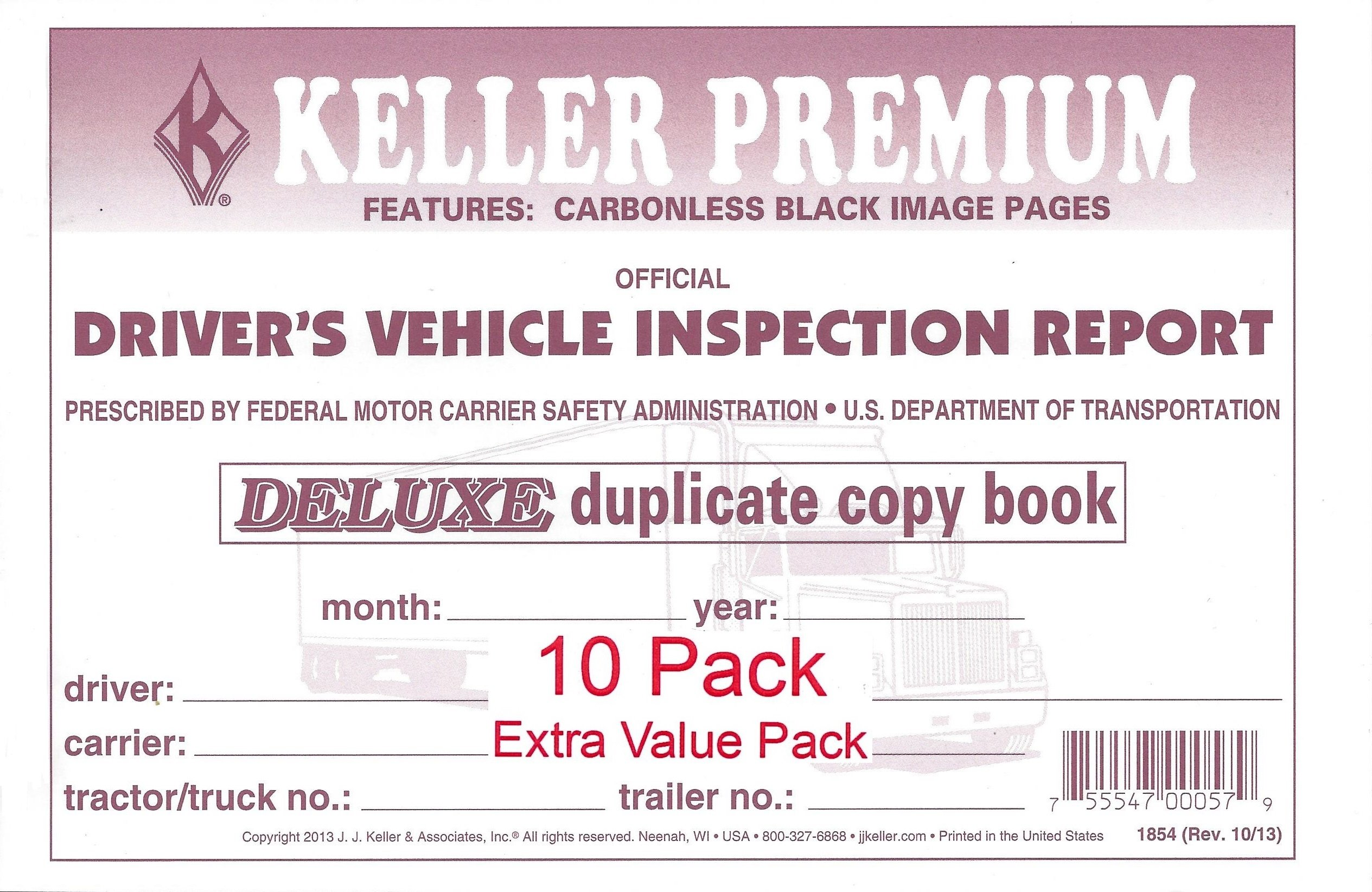 J. J. Keller 115B Detailed Drivers Vehicle Inspection Report, 2-Ply, Carbonless - Pack of 10