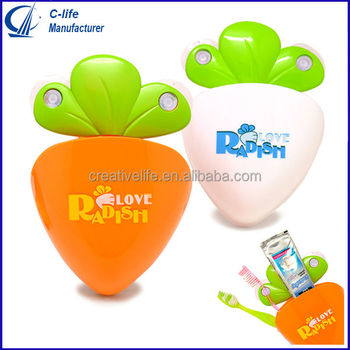 Plastic Carrot Toothbrush Holder Bathroom Set with Four Strong Suction Cup