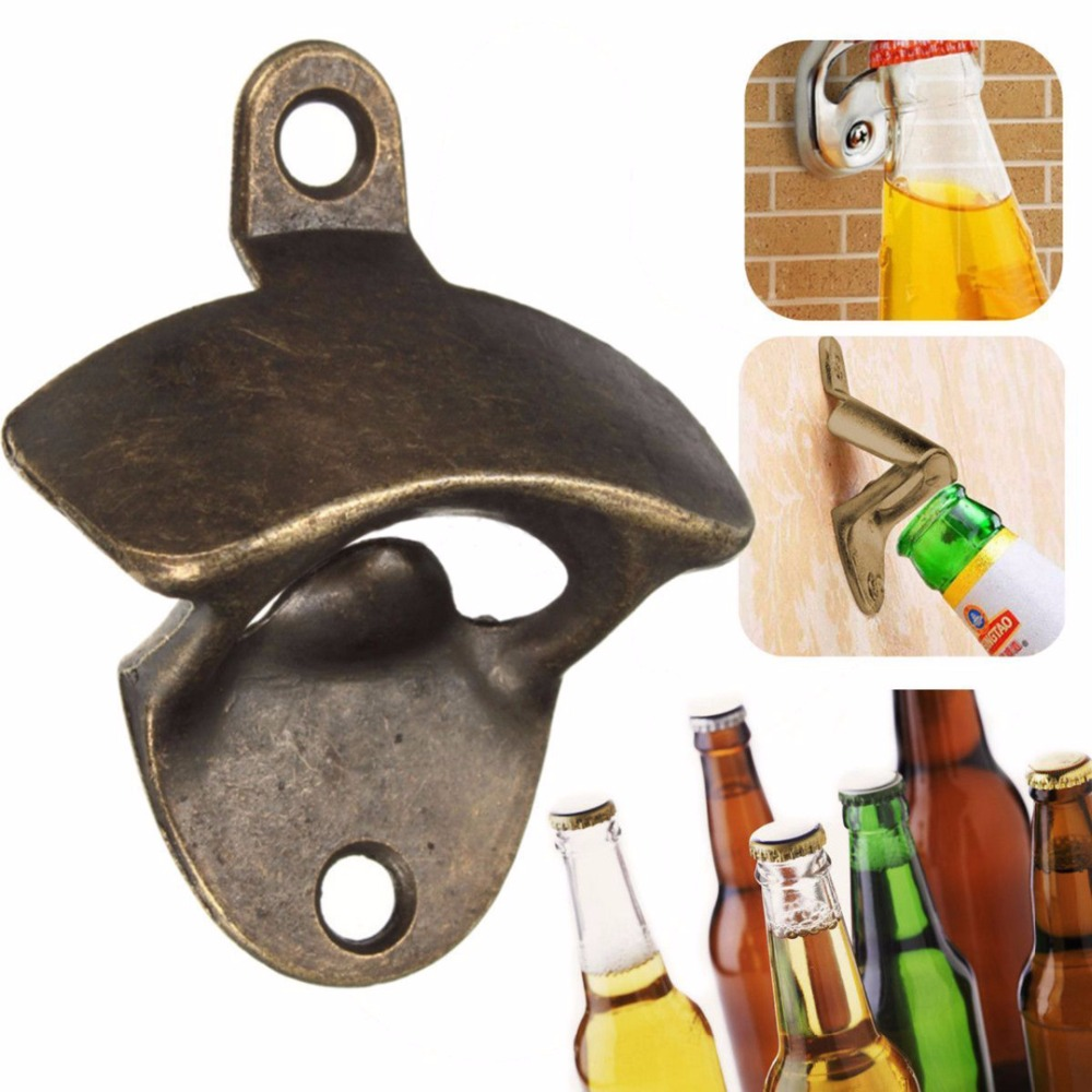 Vintage Bronze Wall Mounted Opener Wine Beer Soda Glass