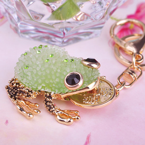Fashion Kawaii Chain Crystal Mascot Toad Round Coin in the Mouth for Car Bag Buckles Keychains