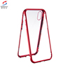 Saiboro ultra thin magnetic adsorption metal frame mobile phone case for iphone x 10 tempered glass back cover case