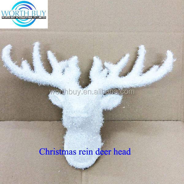 Navidad cabeza de ciervo artificial de color blanco puro pared cabeza de ciervo decoracion - Cabeza de ciervo decoracion ...