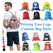 Wholesale Custom Logo Printed Waterproof 210D Polyester Drawstring Backpack