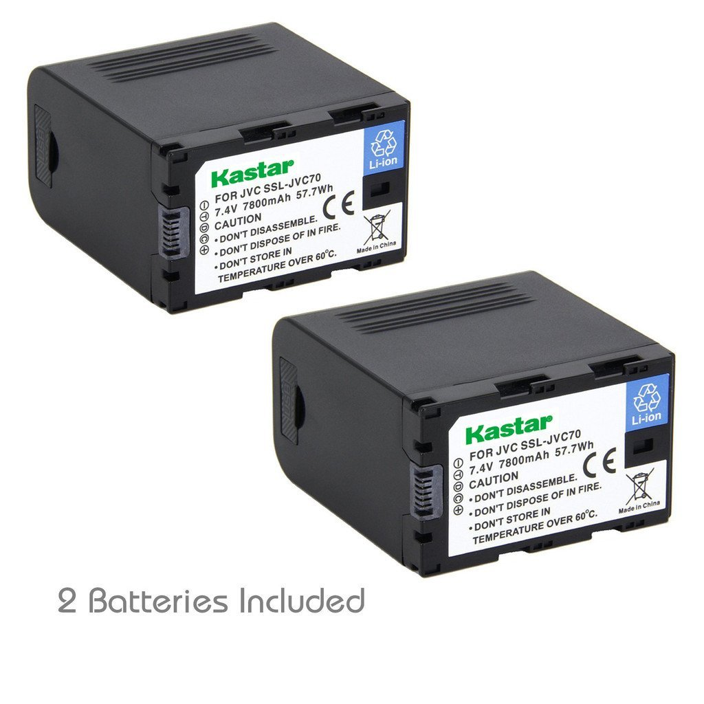 Kastar Ultra Fast Charger and Battery 2X for JVC SSL-JVC70 SSL-JVC75 BN-S8I50 GY-HMQ10 GY-LS300 GY-HM200 GY-HM200HW GY-HM200U GY-HM600 GY-HM620U GY-HM650 GY-HM650SC GY-HM650U GY-HM660SC GY-HM660U