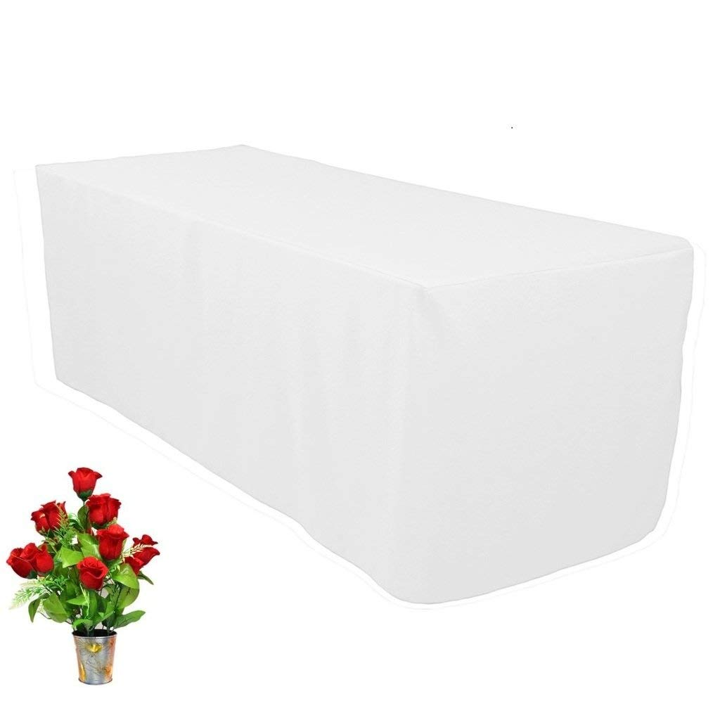 "OWS 4' Feet 4 Foot 2.5 Ft W Fitted Rectangle Polyester Table Cloth Tresale Table Cover Trade show Booth 48"" L X 30"" W X29"" H - 4 ft White - 1 Pc"