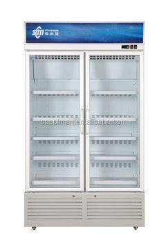 Two Door Upright Glass Door Coolers For Beverage