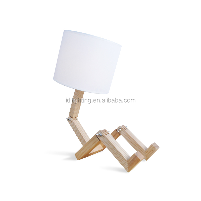 wooden fabric adjustable sitting desk lamp