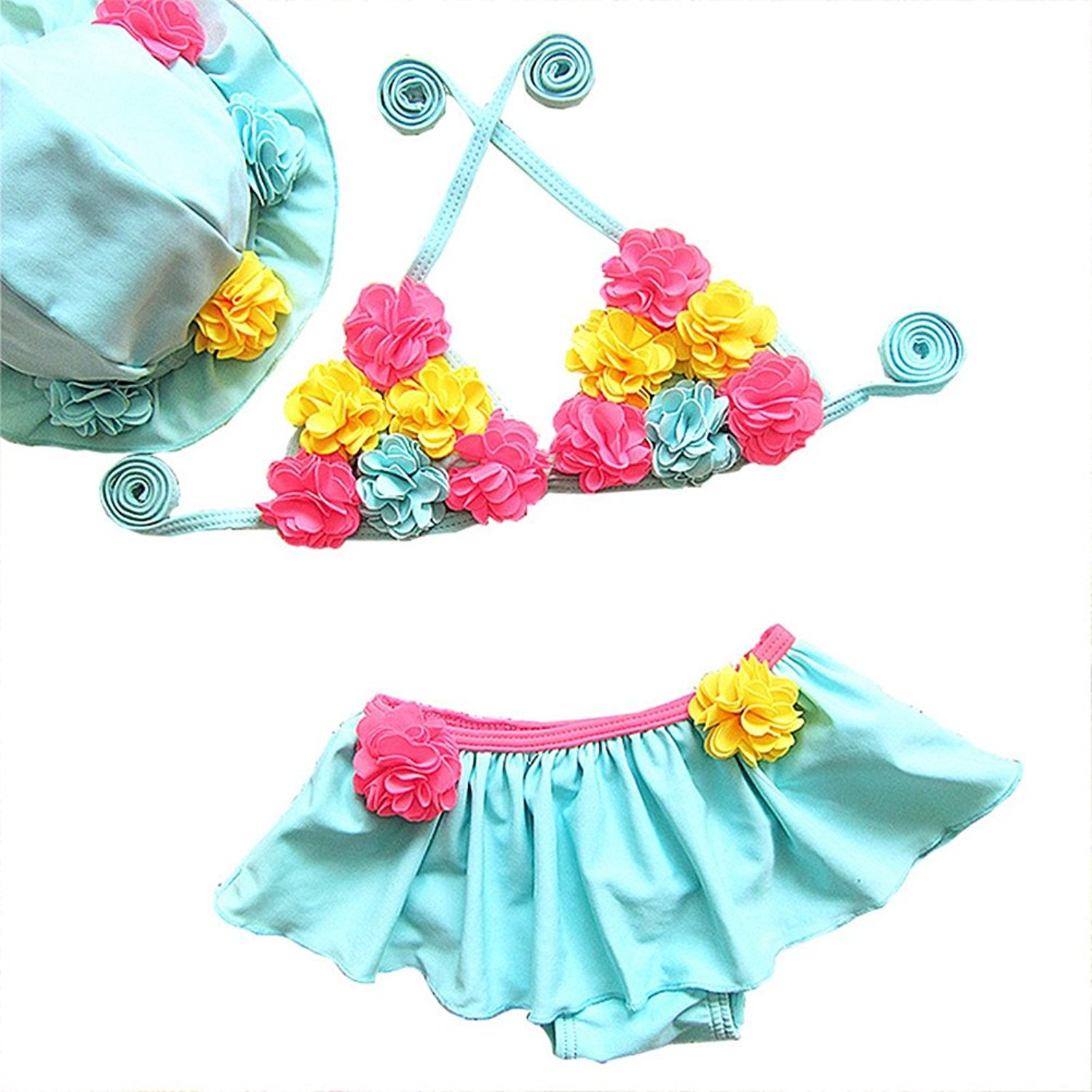 23e982ee9bb3d Get Quotations · BERTERI Two-Piece Cute Colorful Fower Bikini Swimming Cup Swimsuits  Bathing Suits Swimwear for Baby