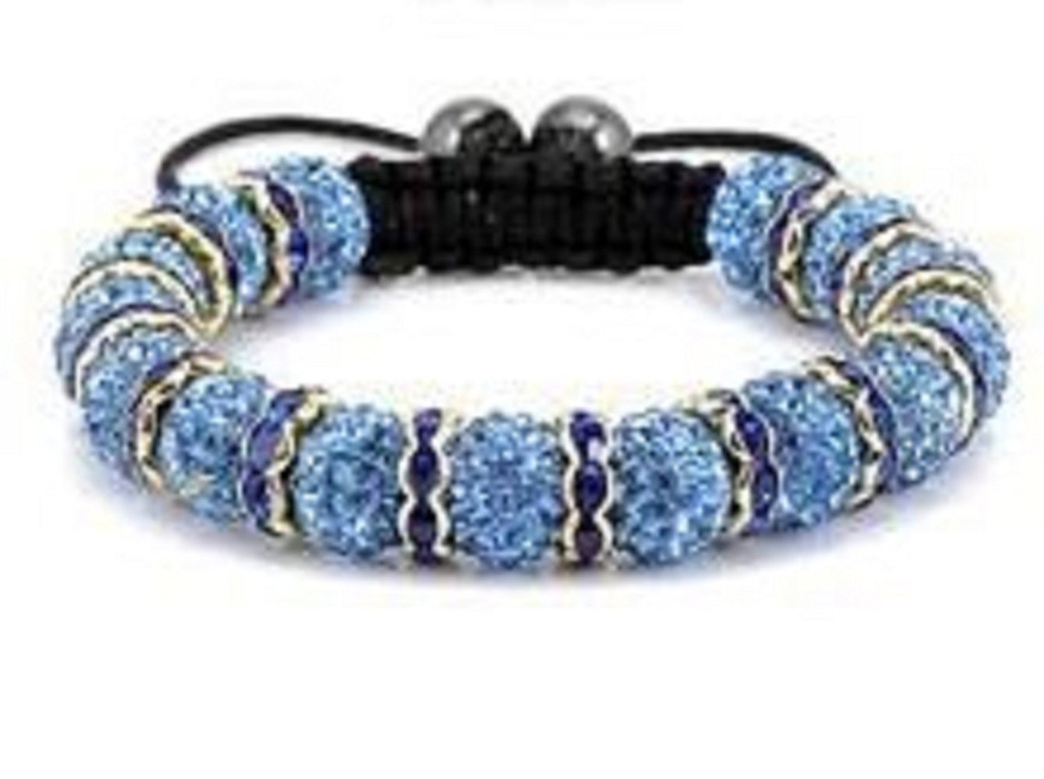 Sky Blue on Navy Blue Links Shamballa Bracelet Continuous Row of 15 Pave Crystal Balls