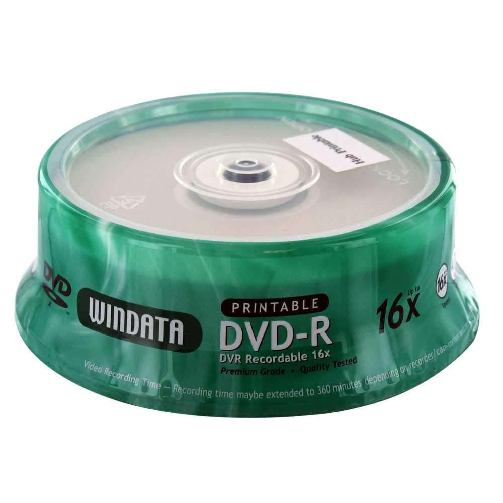 Windata,Hub Printable DVD-R 16x 4.7GB/120 Minute Disc 25-Pack Spindle