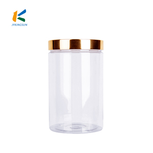 Clear cylinder plastic pet candy jar container with screw cap