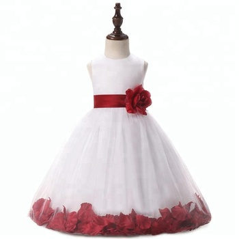 Little Princess Girls Party Dresses 2 Year Old Kids Red Satin Patterns Flower Girl Dress
