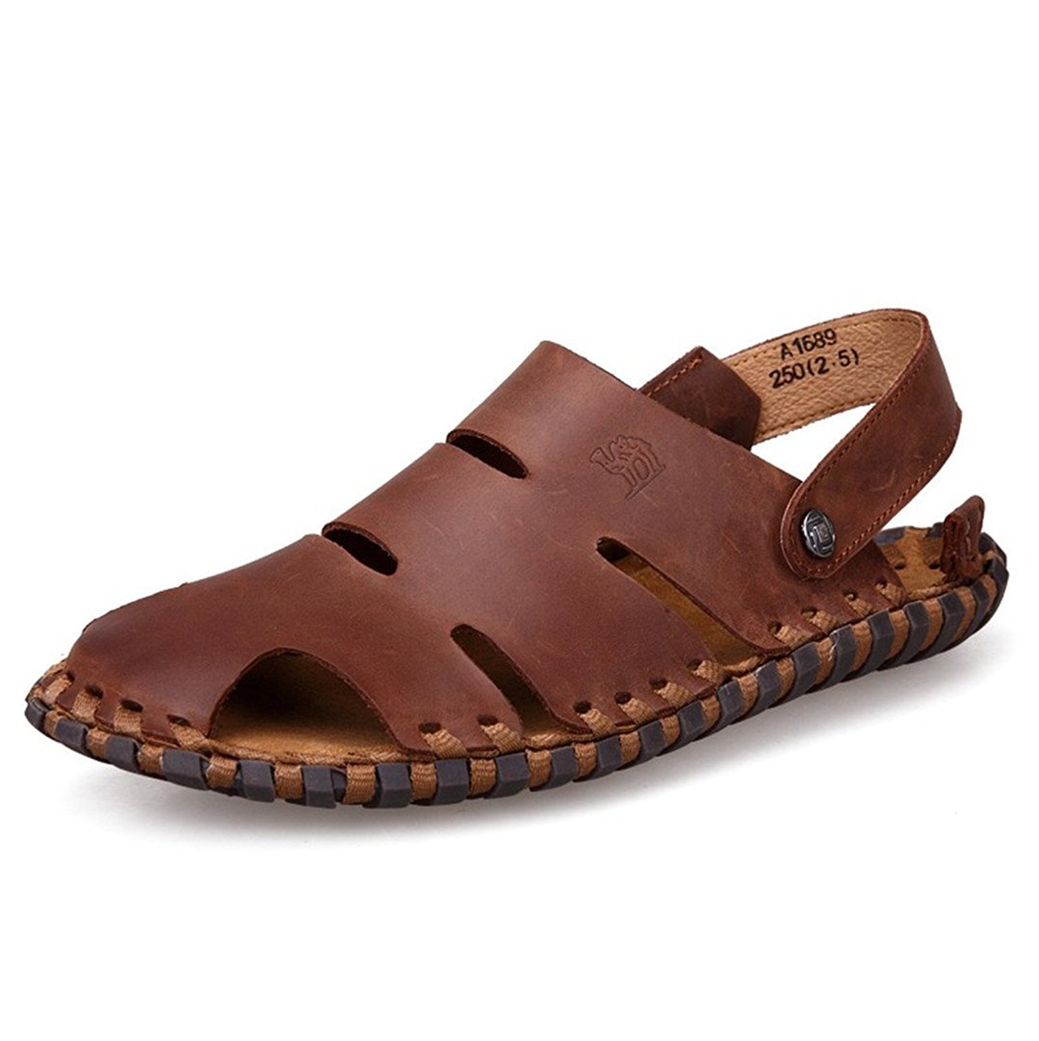 ed44c5ed934b Get Quotations · Retro New Men Sandals Slippers Genuine Leather Cowhide  Sandals Outdoor Casual Mens summer shoes soft bottom