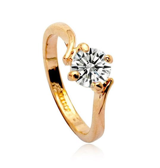 Single Stone Ring Gold Jewellery Fashion Women Rings Finger Ring