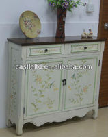 CF30125 Distressed White Hand Painted 2-Door Console / French-style Cupboard Console Sideboard