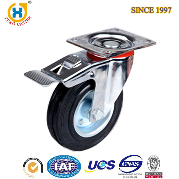 High Quality 4'' 5'' 6'' Europe Style Total Brake Caster Rubber Iron Wheel Black Top Plate