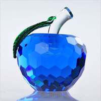 Blue 3D Crystal Paperweight Apple Figurine Glass Wedding Decor Gifts 40mm
