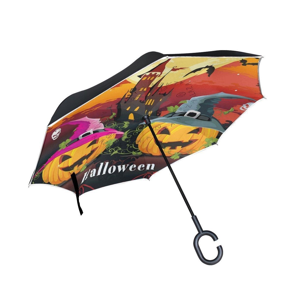 La Random Halloween Abstract Classical Autumn Pumpkin And Foliage Inverted Umbrella Double Layer Windproof UV Protection Compact Car Reverse Umbrella