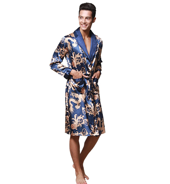 Jaycargogo Mens Cotton Waffle-Weave Kimono Robe Lightweight Sleepwear