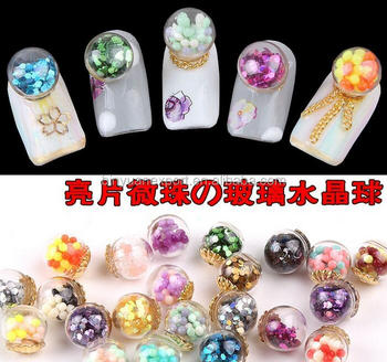 2016 Japanese Nail Art Decoration Glitter Empty Glass Ball