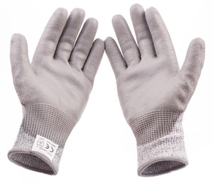 High Quality HPPE Liner Industrial Working Safety Cut Level 5 Resistant PU Coated Gloves