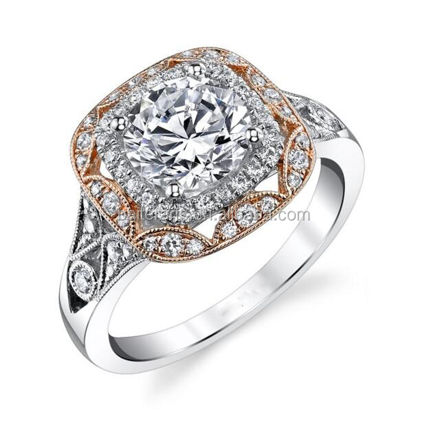 White And Rose Gold Plated 925 Sterling Silver Cubic Zirconia CZ Round Cut Diamond Halo Engagement Ring