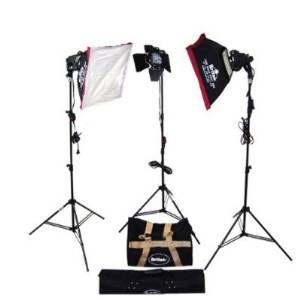 Britek#900UHK Photography Studio 900w Halogen Light Kit - Ultra Portable Series with 3 Halogen Light+2 Softbox+1 Barndoor+3 Compact Light Stand+2 Carrying Bag